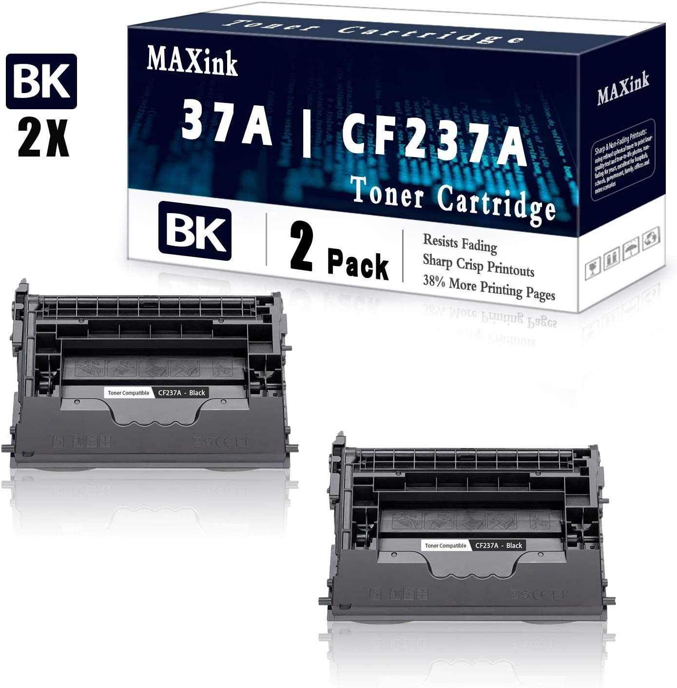 2 Pack Black 37A CF237A Toner HP Cartridge Recommendation Spring new work Replacement for M60