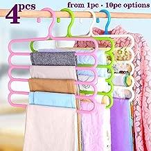 TONY STARK Closet Organizer Space Saving Plastic Multi-Functional Storage Wardrobe Clothes Organizer Hanger for Shirts, Pants, Skirts-32L x 1B x 33H cm (Multicolour, Set of 4)