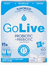 GoLive Probiotics for Women, Men and Children with Vitamin D3 - Prebiotics and Probiotics for Gut and Digestive Health - Flavorless Ready to Mix Powder Packets - Doctor & Dietitian Recommended - 28 Ct