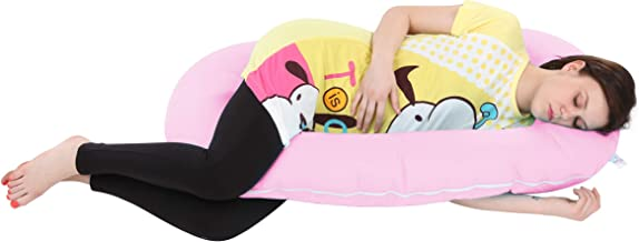 MomToBe C Shaped Pregnancy Pillow with 100% Cotton Stretch Detachable Cover -Pink