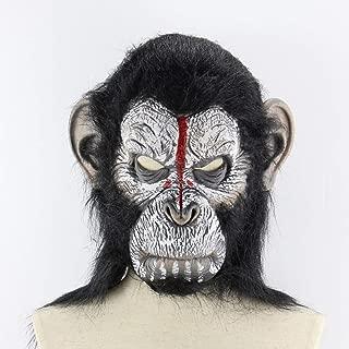 Planet Of The Apes Halloween Cosplay Gorilla Masquerade Mask Monkey King Costumes Caps Realistic Monkey Mask - White&Black