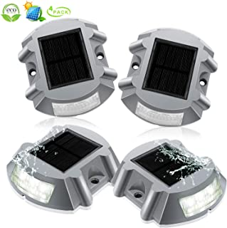 Deck Lights Solar Powered Dock Lighting Outdoor Waterproof Deck Post Solar Driveway Lights 6 LED Solar Step Lights Outdoor Decorative For Patio Pathway Garden Walkway Stairs Low Voltage(4 Pack White)