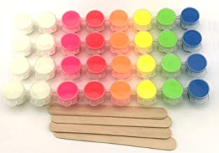 Slime Colors - 32 Piece Neon and Glow in The Dark Paint Set for Slime Making