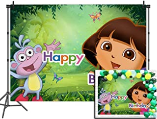 Jungle Animals Monkey Sequin Photography Backdrops Happy Birthday Decoration Photo Booth Studio Props Vinyl Cartoon Adventure Girl Baby Shower Photo Backgrounds Party Banner Cake Table 5x3ft