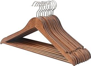 木製ハンガーセット スーツ ジャケット用 手作 天然高級木 (茶褐色 10本)