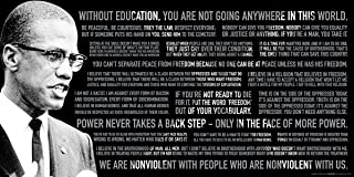 Malcolm X Quotes Political Civil Rights Icon Celebrity Print (Unframed 12x24 Poster)
