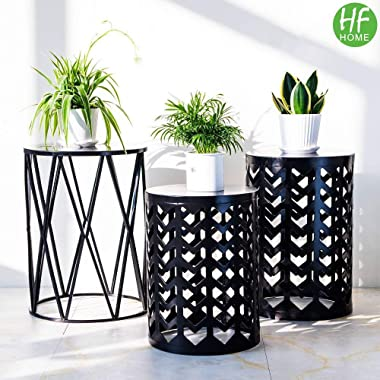 Nesting Round Metal Coffee End Tables, HFHOME Set of 3 Modern Multifunctional Furniture Nightstands Decor Side Tables Plant Stand for Indoor Home Office Garden Outdoor- Black (Ship from US)