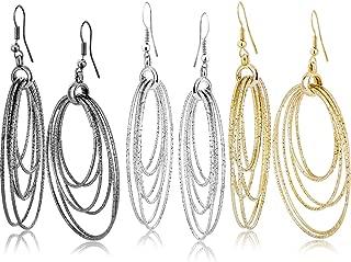 Fashion Costume Jewelry Dangle Drop Circle Hoop Earrings Set For Women Teen Silver Gold Black Tone