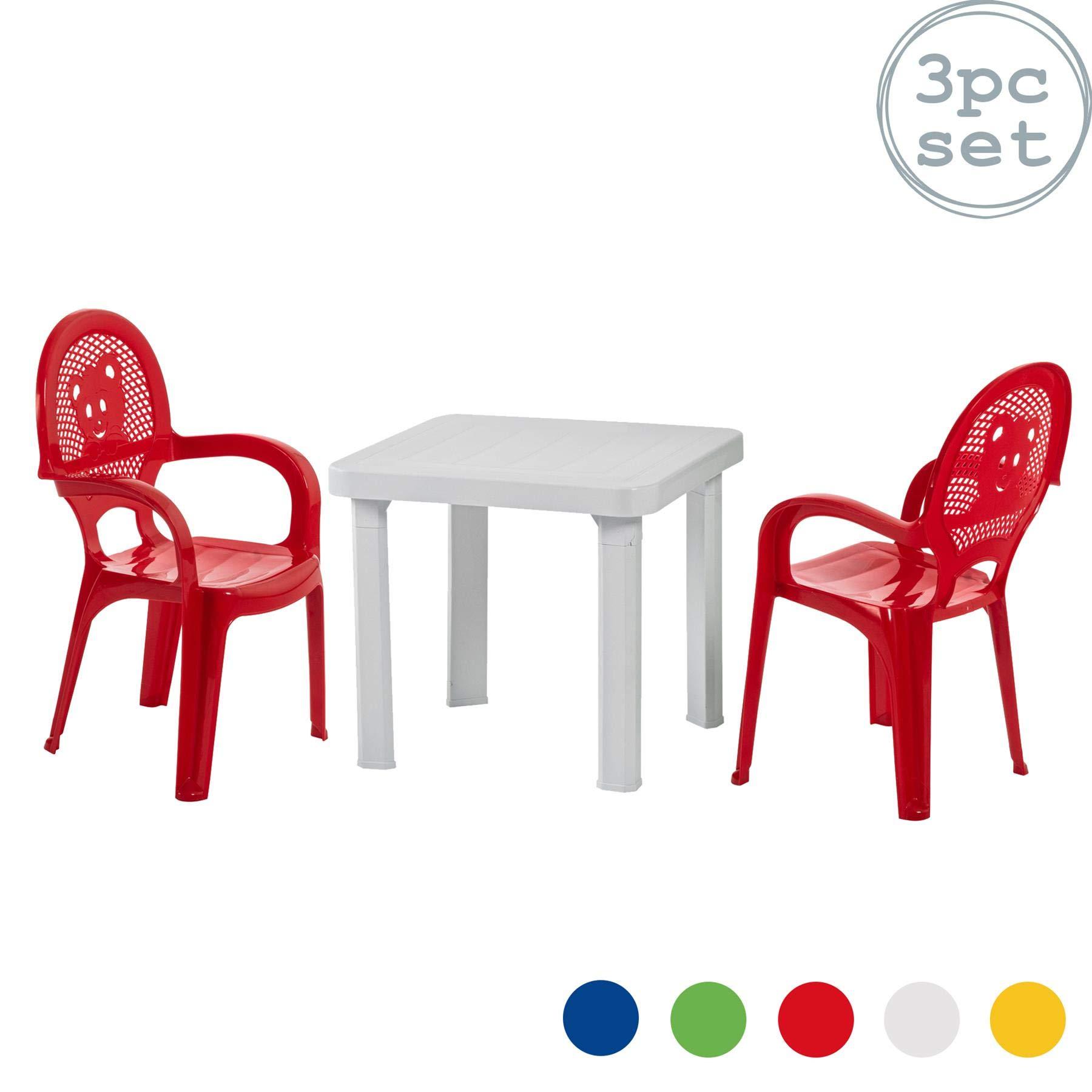resol para niños sillas de jardín plástico para jardín y Exteriores y Juego de Mesa - Rojo sillas, Blanca - Muebles para niños (Unidades 2 sillas y 1 Mesa): Amazon.es: Jardín