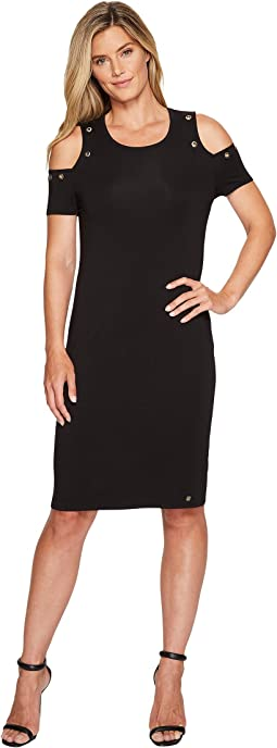 Ivanka Trump - Cotton/Modal Cold Shoulder Midi Dress