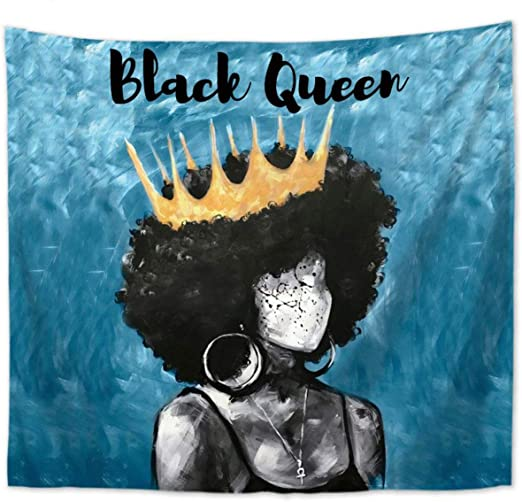EasyNatures Wall Hanging Tapestry African American Black Queen Tapestry for Bedroom Livingroom Meditation Wall Home Decor (Blue, Large 59