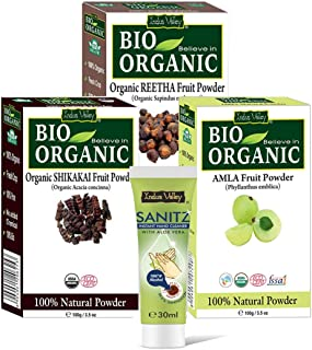Indus Valley Organic Amla, Shikakai and Reetha Powder for Hair and skin Care Pack of 3 with Free Sanitizer 30ml