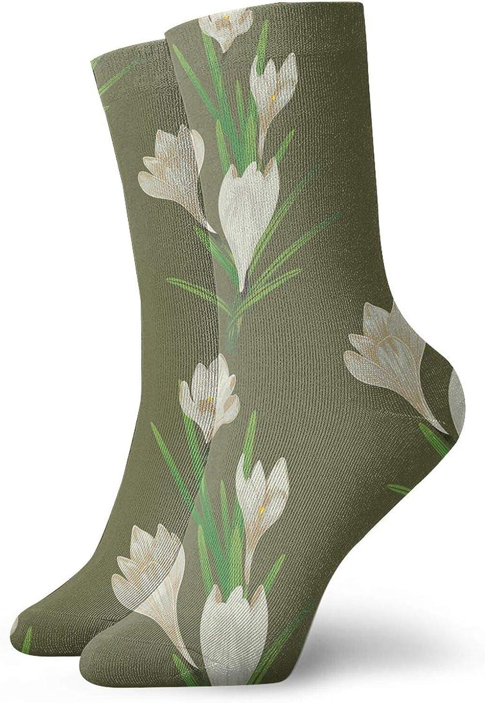 White Crocus Flowers Short Socks Sports Cotton Socks Casual Socks 30cm