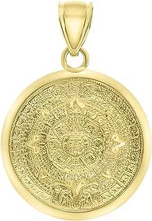 14k Yellow Gold Mayan Sun Calendar Medallion Pendant