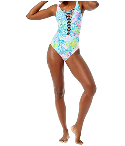 Lilly Pulitzer Isle Lattice One-Piece (Multi Fished My Wish) Women