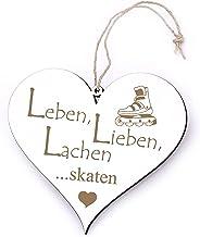 Bord Hart Leben, Lieben, lachen - Skaten - met motief - 13 x 12 cm