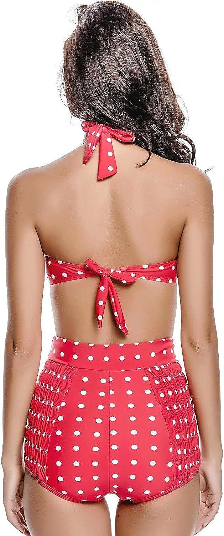 KDHJJOLY Soft Retro Vintage Twist Push Up Polka Dots High Waisted Bikini Swimsuit Hot
