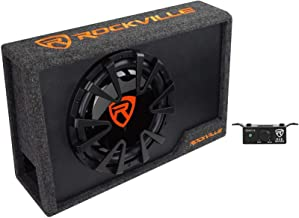 "Rockville RVE12CA 12"" Slim Vented Powered Car Subwoofer Enclosure, 1400 Watts"