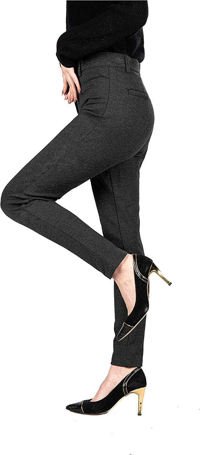 Senxcover Women's Work Office Pants Straight Leg Casual Ankle Suit Pants