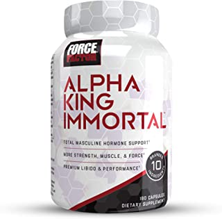 Force Factor Alpha King Immortal Total Masculine Hormone Support, Boost Testosterone & Reduce Estrogen, Improve Strength, Muscle, Force, Enhance Performance, 180Count