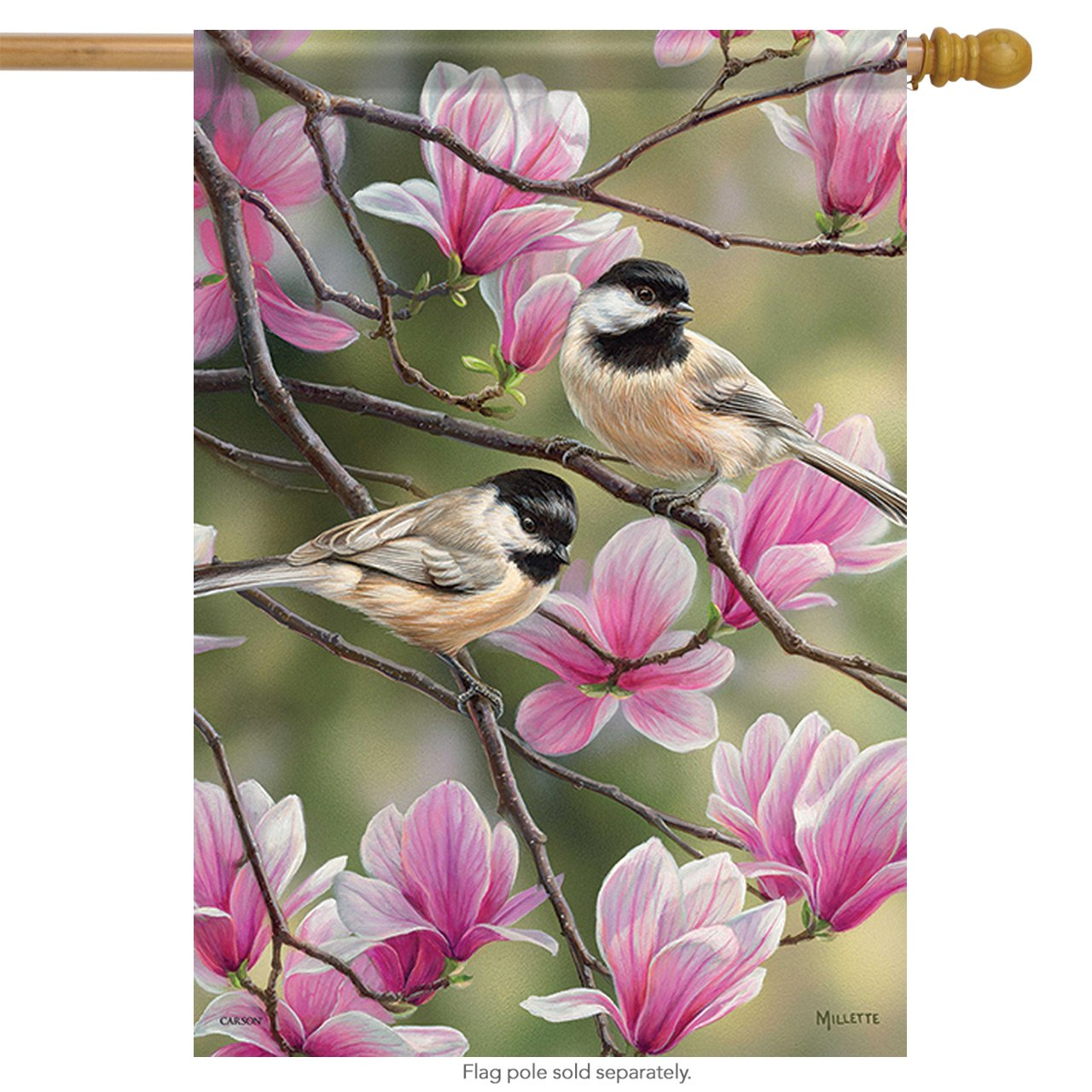 Primavera Chickadee casa bandera Floral pájaros Flores Banner 2 caras 28