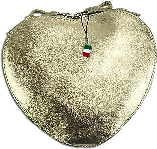 Florence Damen Umhängetasche Herz Handtasche Gold Echtleder Heart Bag OTF121Y Leder Schultertasche