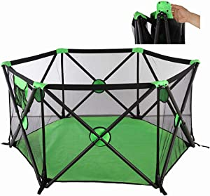 Foldable Baby Playpen  Kids Activity Centre Safety Play Yard  Hexagonal Infant Play  Playpen Infant with Storage Bag  Detachable button  Portable Playard for 0-6 Ages  Green