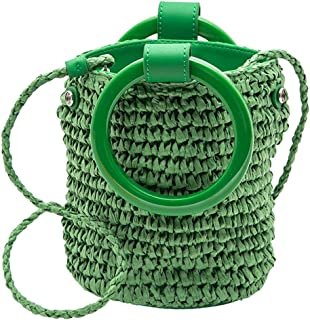 Straw Bag Ladies Handbag Straw Wallet New Trend Shoulder Bag Bohemian Style Handbag Beach Bag (Color : Brown, Size : 18 * 18 * 13cm)