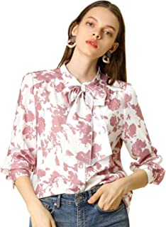 Allegra K Women's Floral Ruffle Sleeves Button Up Chiffon Shirt Tie Neck Blouse