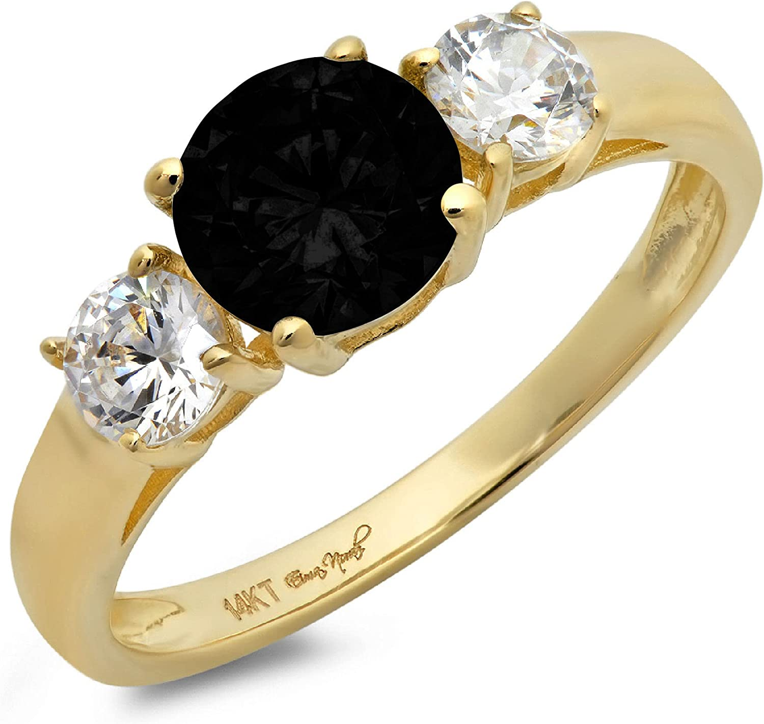 1.50ct Brilliant Round Cut Solitaire 3 stone Genuine Flawless Natural Black Onyx Gemstone Engagement Promise Statement Anniversary Bridal Wedding Ring Solid 18K Yellow Gold