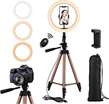 Rimposky 26 cm Ring Light with Tripod Stand and Remote,Selfie Ringlight with Phone Holder for Photography/YouTube/Makeup/Vlogging/Live Streaming/Video/TikTok,LED Circle Light with Tripod,Compatible with iPhone/Android/Phones/Cameras.