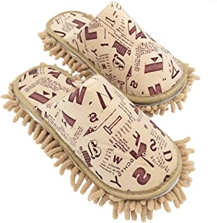 Selric Alphabet Letters Microfiber Chenille Washable Mop Slippers Camel, Detachable Mopping Shoes,Closed Toe Cleaning Shoes Dusting Cleaning Tool 10 1/4 Inches Size:9.5-10