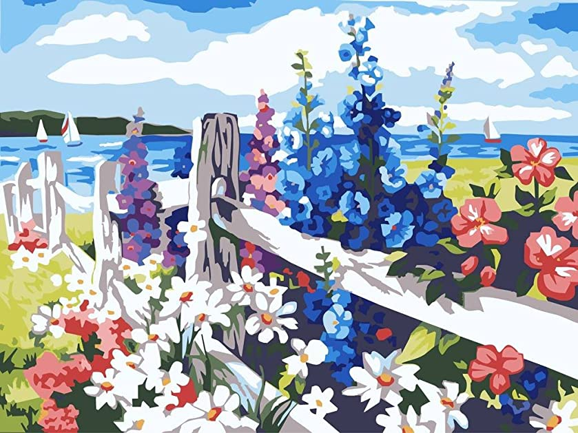 Colour Talk Diy oil painting, paint by number kit- Sea of flowers 1620 inch.