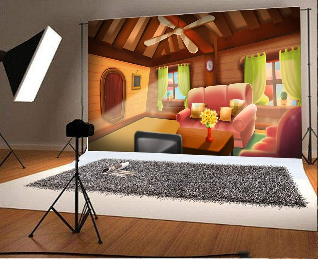 Laeacco 7x5ft Cartoon Fairytale Living Room Interior Backdrop Vinyl Warm Room Pink Sofa Cushions Flowers TV Set Air Fan Bright Windows Green Curtains Background Birthday Party Banner Child Baby Shoot