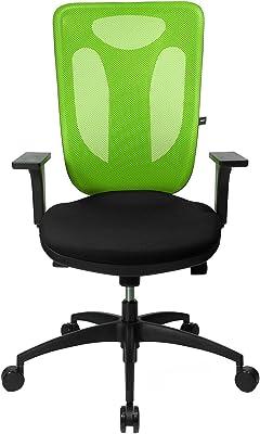 Topstar Net Pro 100Incluye reposabrazos Regulables de Oficina giratoria, plástico, Tela, Negro-Verde, 59 x 56 x 120 cm