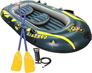 ست قایق بادی SOARRUCY برای 3 نفر - مجموعه قایق تورم بادی با پمپ و پارو برای قایقرانی و ماهیگیری.