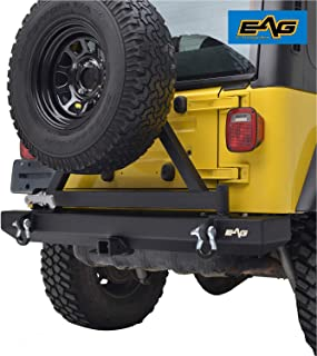 EAG Rear Bumper with Tire Carrier and Hitch Receiver Fit for 87-06 Jeep Wrangler TJ YJ