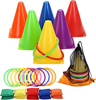 Win SPORTS 3 in 1 Carnival Outdoor Games Combo Set,Soft Plastic Cones Cornhole Bean Bags Ring Toss Game for Kids Birthday Party Outdoor Games Supplies 26 Piece Set