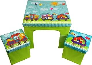 CrazyGadget  Children s Table and Storage Bin Style Chairs Furniture Set Animal Train