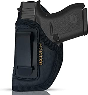 IWB Gun Holster by Houston - ECO Leather Concealment Inside The Waistband with Metal Clip FITS Glock 43 & 42, KAHR PM 45,MAKAROV.KELTEC PF9/P11