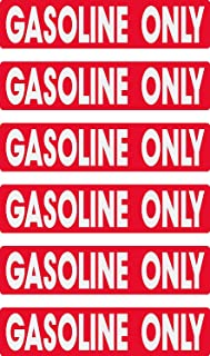 gasoline only, prime, fast delivery, 6 decals as shown, waterproof, laminated, UV fade protected, alert, warning, caution, notice, stickers, decals, for vehicle, car, truck, barrel, can, sign