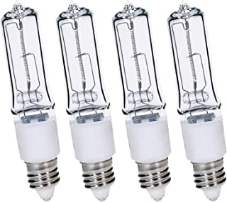 4-Pack JDE11 120V 100W Dimmable Halogen Bulb T4 Mini Candelabra Base Warm White for Chandeliers, Ceiling Fan, Table Lamps, Cabinet Lighting