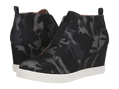 LINEA Paolo Felicia Wedge Sneaker (Black/Grey Camo Net Fabric) Women