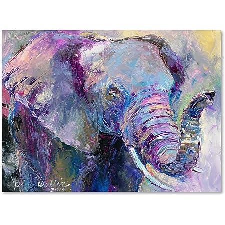 Amazon Com Blue Elephant By Richard Wallich 24x32 Inch Canvas Wall Art Home Kitchen