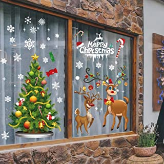 Christmas Window Clings Party Decorations - Winter Wonderland Party/Winter Holiday/Xmas Party Supplies Wall Sticker Decals Home Office Party Decor