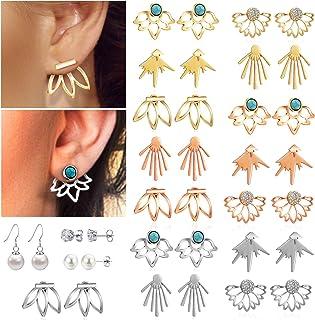 c6157ed51a1 18 Pairs Multiple Dainty Lotus Flower Ear Jacket Earrings-Minimalism CZ Bar  Turquoise Studs-