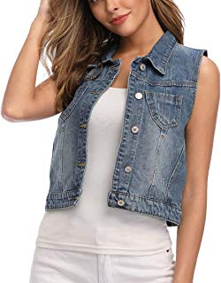 Womens Classic Denim Vest Button Up Sleeveless Cropped Distressed Jean Jacket w Chest Pockets