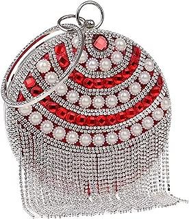 Redland Art Women's Fashion Mini Pearl Beaded Tassel Round Clutch Bag Wristlet Catching Purse Evening Handbag for Wedding Party (Color : Red)