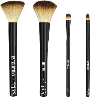 Make Them Stare 4 Pc Makeup Brush Set by Nicole Miller, Beautiful & Quality Makeup Brushes, 1 Eye Shadow Brush, 1 Eye Crease Brush, 1 Angled Brush and 1 Blush Brush in Gold Box with Mirror