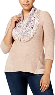 Style & Co. Womens Plus Hi-Low Three-Quarter Sleeves Pullover Sweater